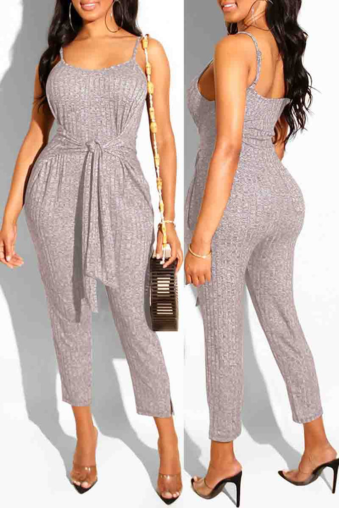 Solid Color Bandage Open Back Sleeveless Jumpsuit