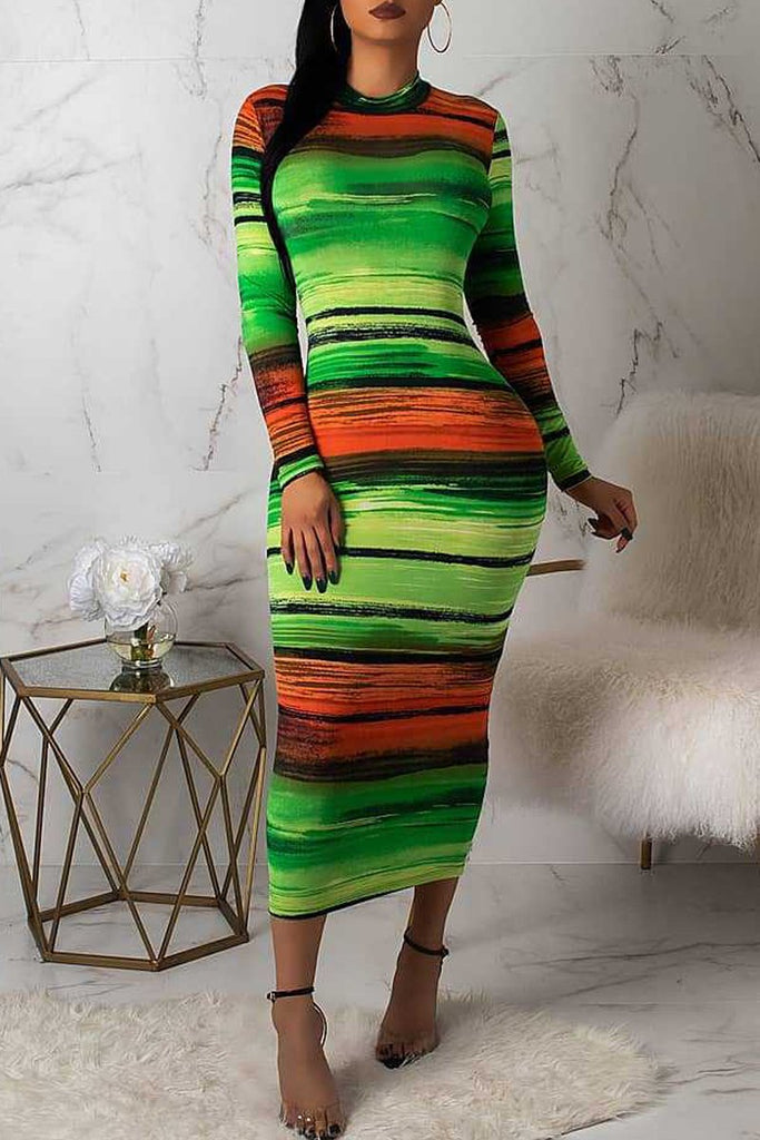 Gradient Color Long Sleeve Round Neck Midi Dress