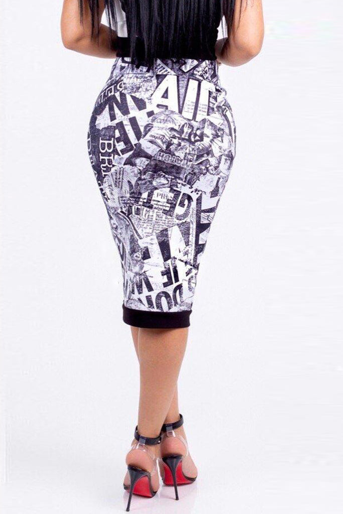 Casual Digital Print High Waist Midi Skirt