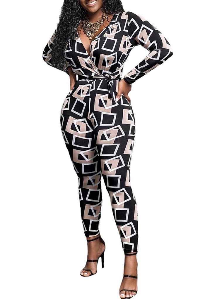 Geometric Print Long Sleeve Jumpsuit With Belt