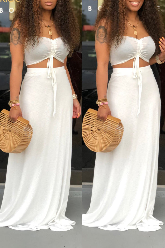 Solid Color Tie Up Strapless Top & Maxi Skirt