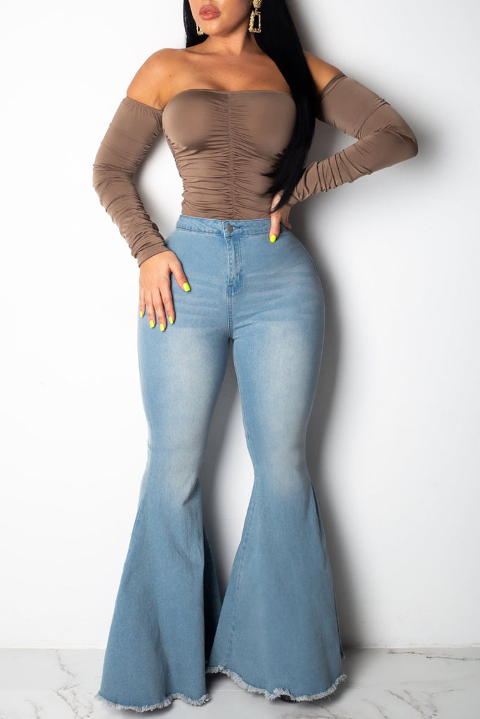Casual Denim High Waist Flare Pants