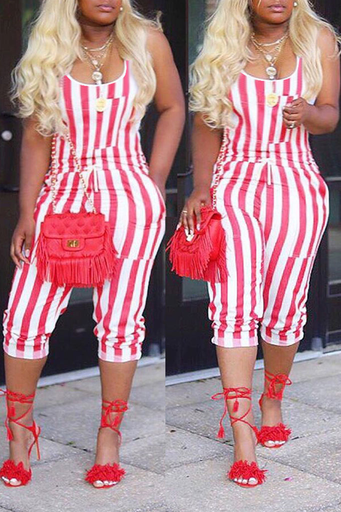 Drawstring Waist Sleeveless Stripe Print Jumpsuit