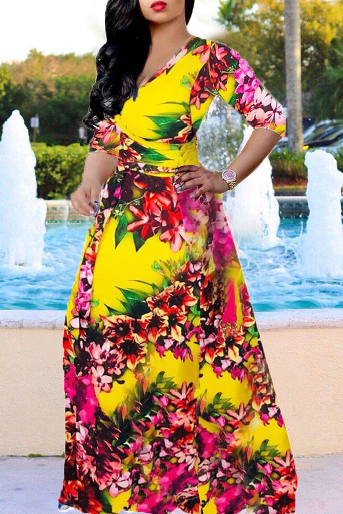Three Quarter Sleeve Print V-neck Belted Maxi Dress