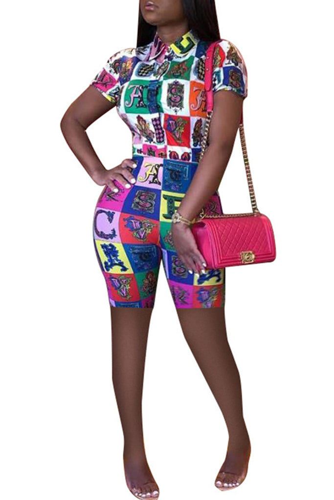 Turndown Collar Plus Size Digital Print Top & Shorts