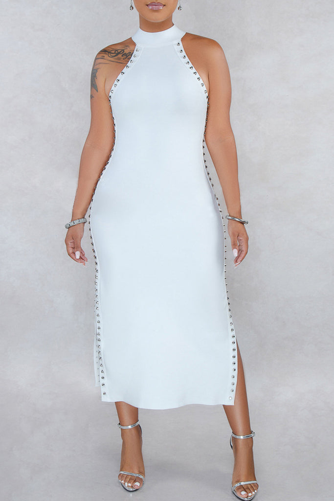 Solid Sleeveless Rivet Side Slit Midi Dress