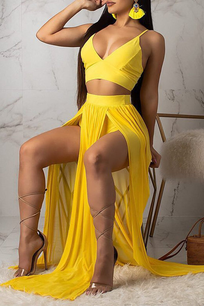 Solid V Neck Sleeveless Side Slit Two Piece Maxi Dress