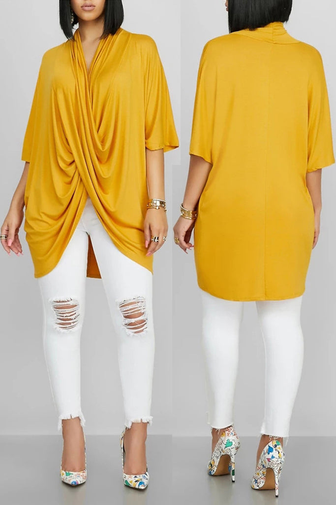 Asymmetric Hem Batwing Sleeve Top