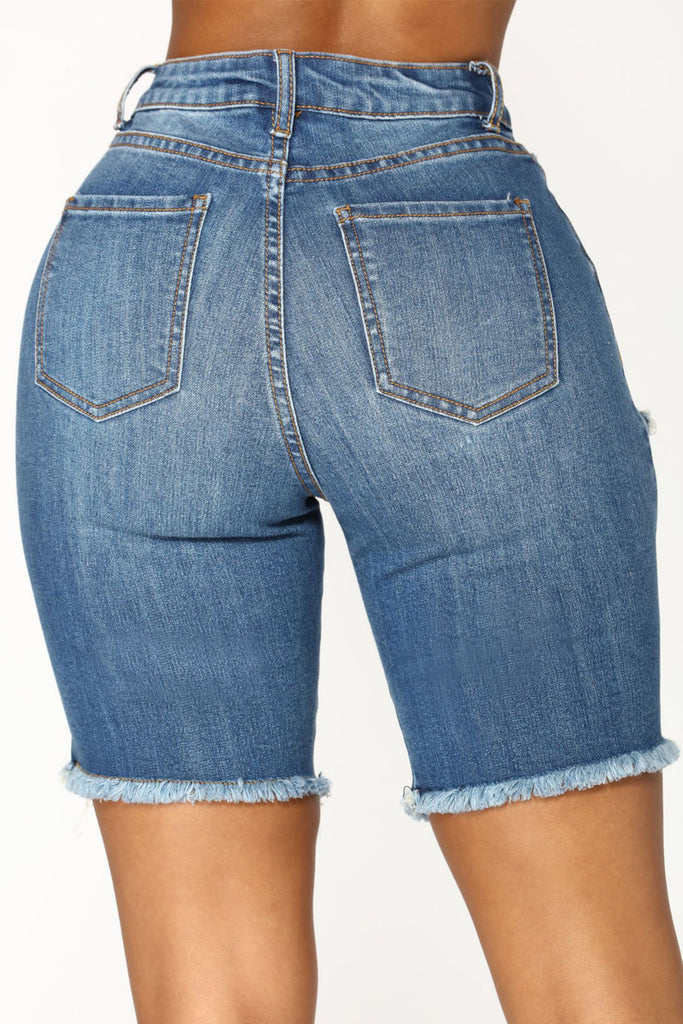 Ripped Holes Denim High Waist Shorts Plus Size