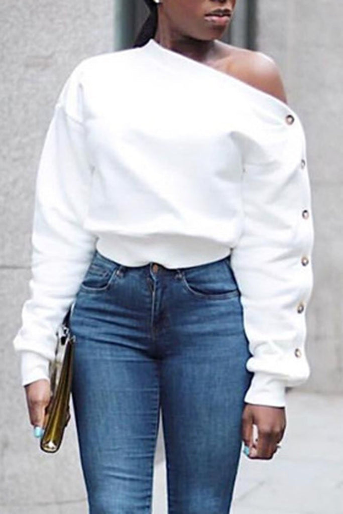 Eyelet Detail Off One Shoulder Solid Color Sweatshirt - MISSINLOOK