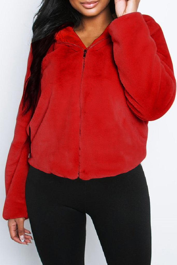 Artificial Fur Hooded Collar Casual Coat
