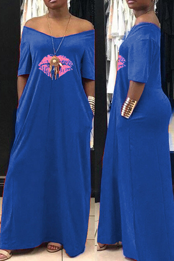 Off The Shoulder Lip Print Pocket Maxi Dress