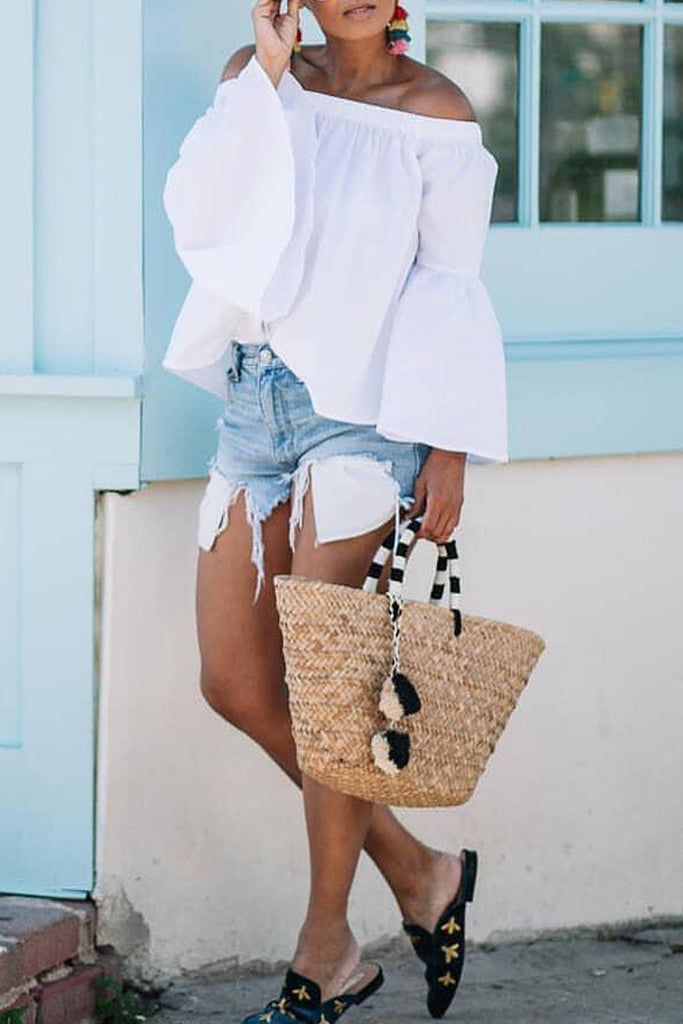 Solid Off The Shoulder Flare Sleeve Blouse