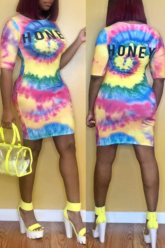 Letter Print Tie Dye Bodycon Midi Dress