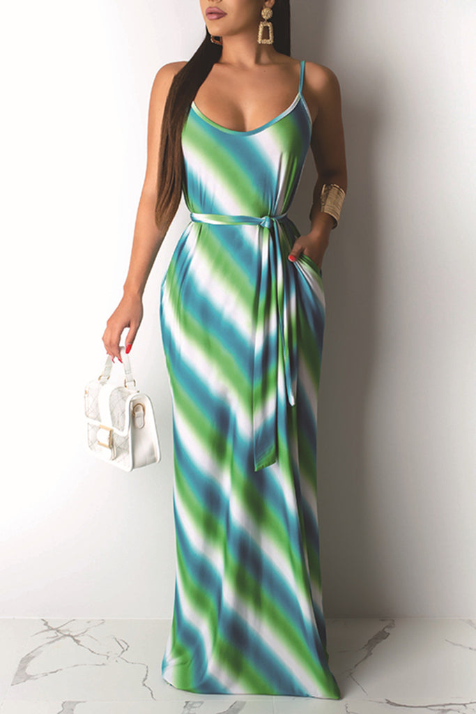 Pocket Gradient Striped Maxi Dress With Belt