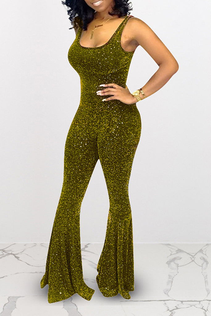 Scoop Neck Sequined Flared Club Jumpsuit