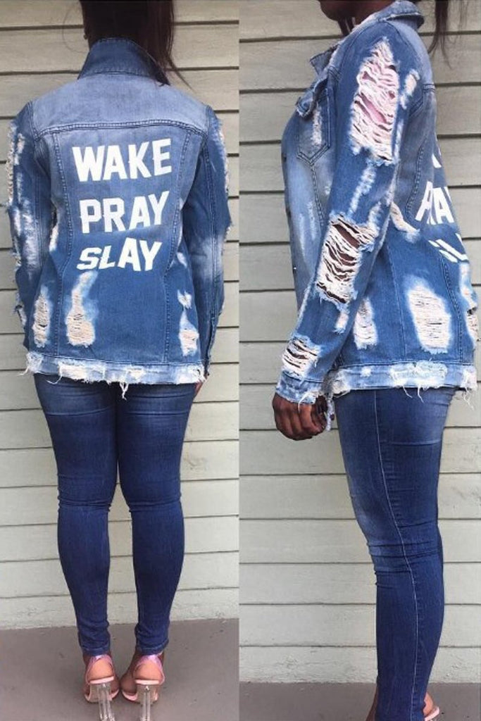 Plus Size Letter Print Distressed Denim Jacket