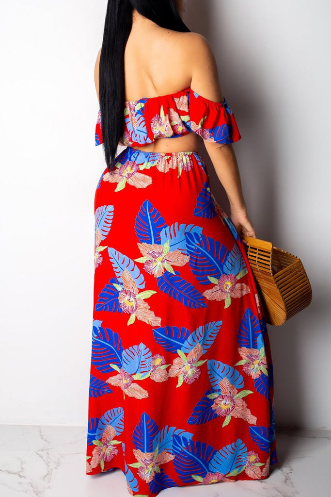 Off The Shoulder Print High Waist Slit Two Piece Maxi Dress