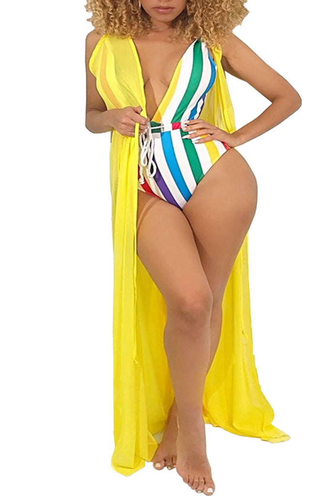 Rainbow Striped Drawstring One Piece Swimwear
