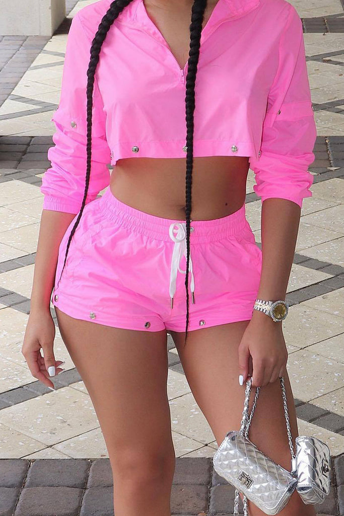 Casual Patchwork Rivet Sun Proof Clothing Top & Shorts