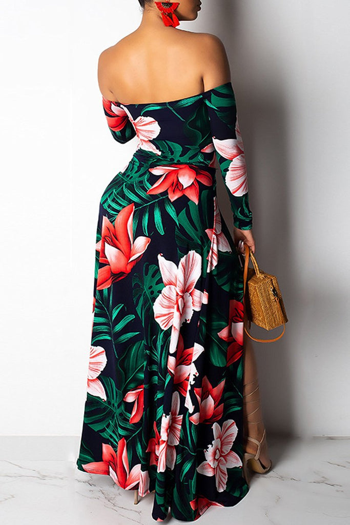 Off The Shoulder Slit Hem Digital Print Long Sleeve Maxi Dress