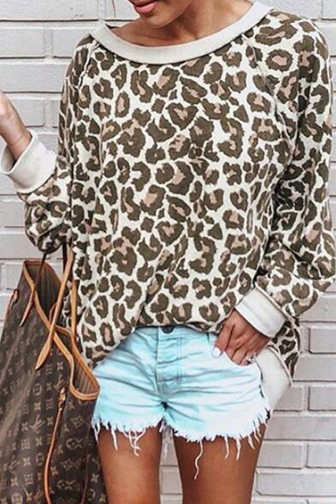 Casual Leopard Print Long Sleeve Sweatshirt - MISSINLOOK