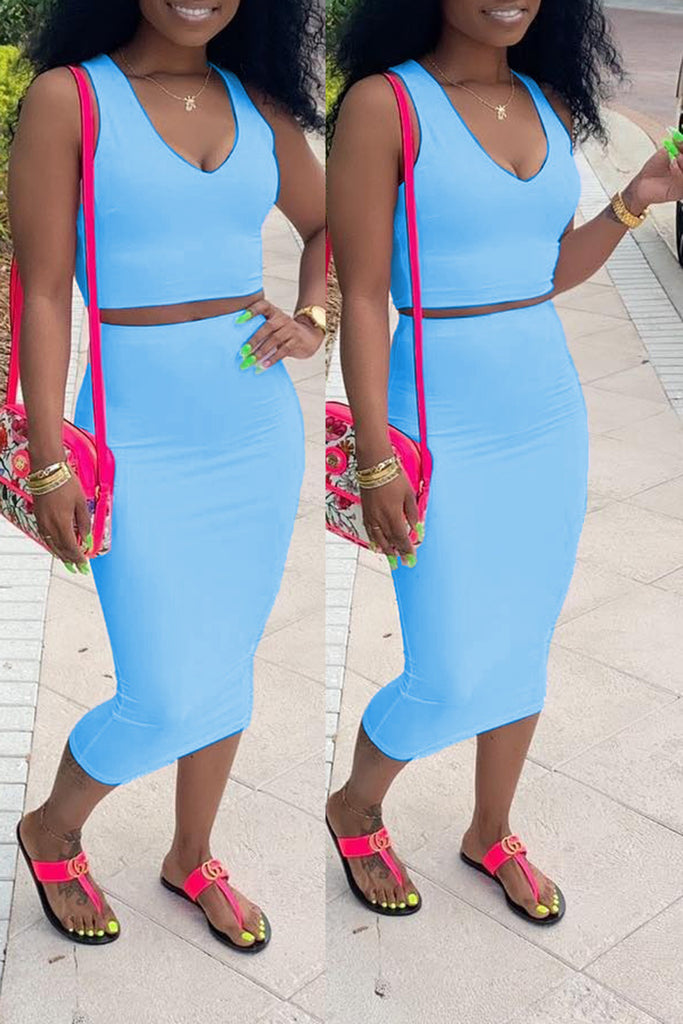 V-Neck Sleeveless Solid Color Top & Midi Skirt