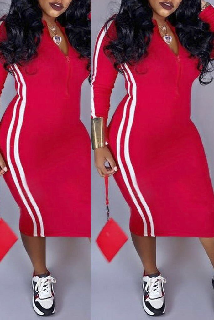 Casual Long Sleeve V-neck Zipper Stripe Bodycon Midi Dress