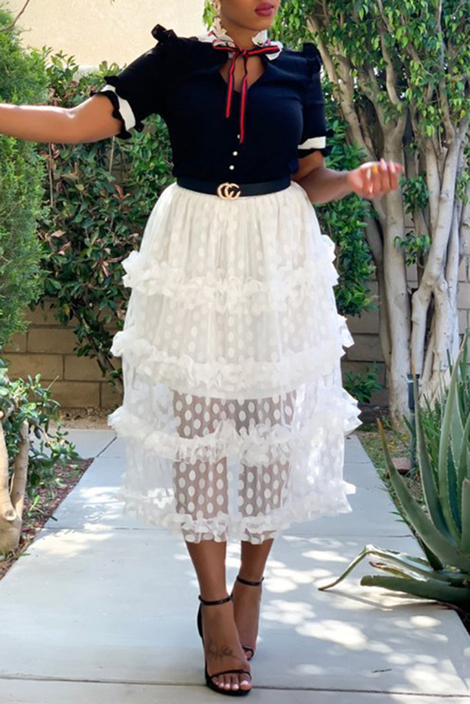 Net Yarn Polka Dot Ruffled Midi Skirt