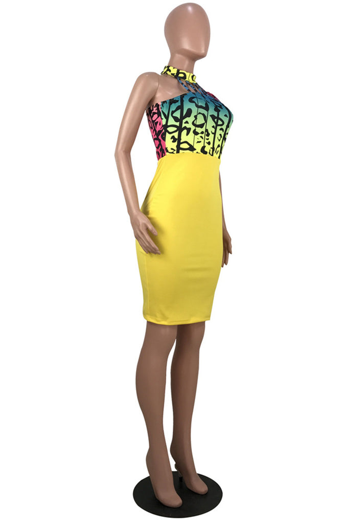 Colorful Leopard Print Bandage Club Dress