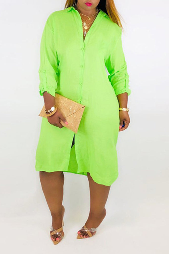 Back Knotted Solid Color Button Shirt Dress