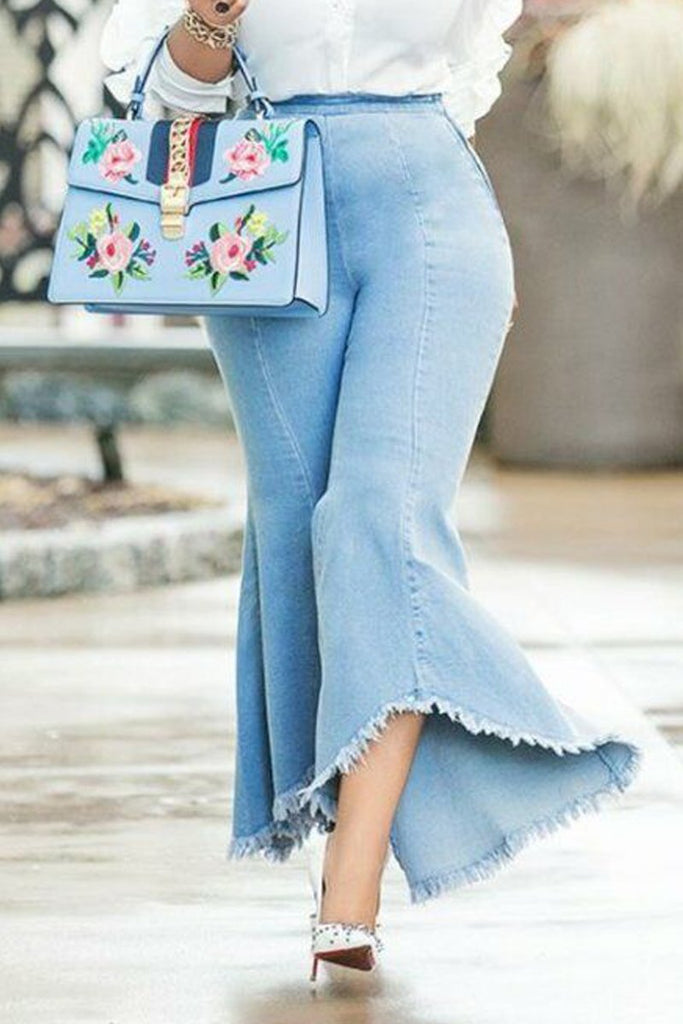 Distressed Zipper High Waist Jeans Flare Pants