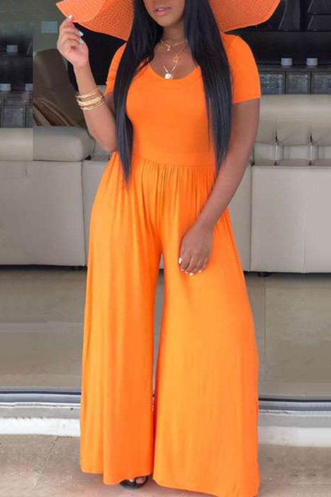 Short Sleeve Solid Color Wide Leg Jumpsuit