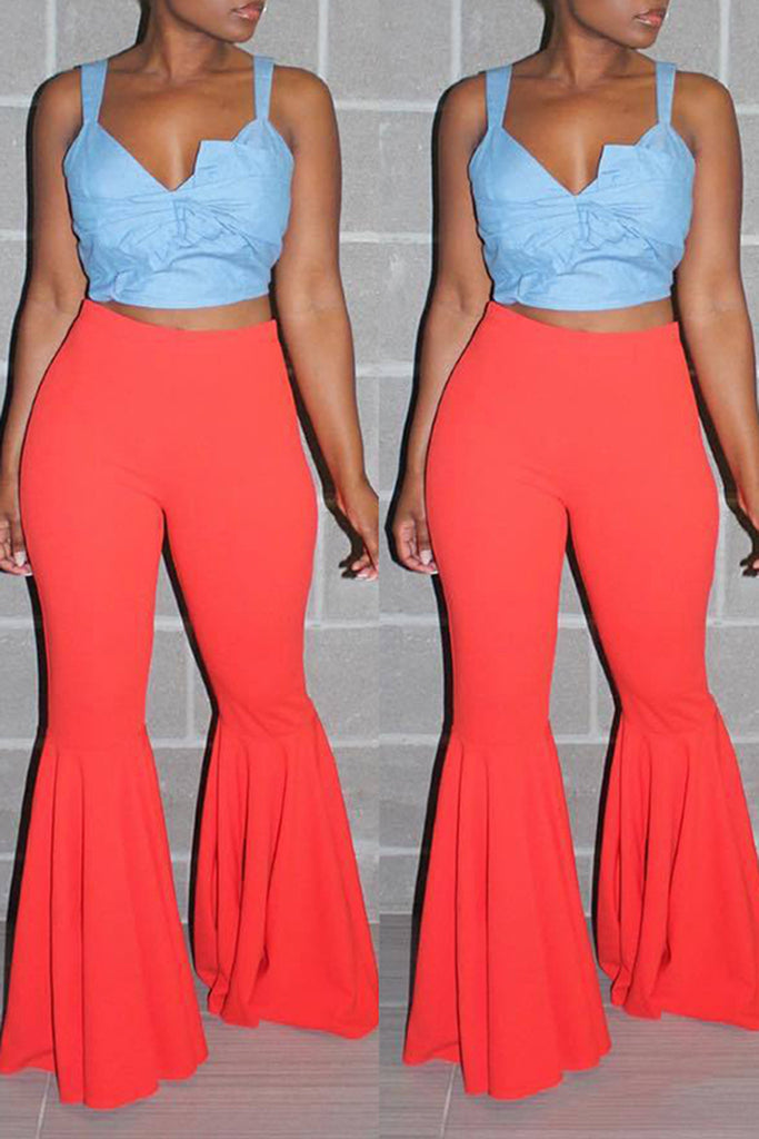 Casual Solid Color Flare Pants