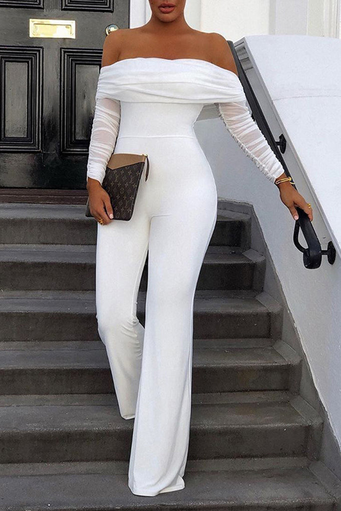Ruffle Off The Shoulder Long Sleeve Jumpsuit