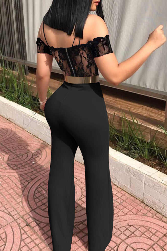 Lace Spaghetti Straps Jumpsuit Without Belt