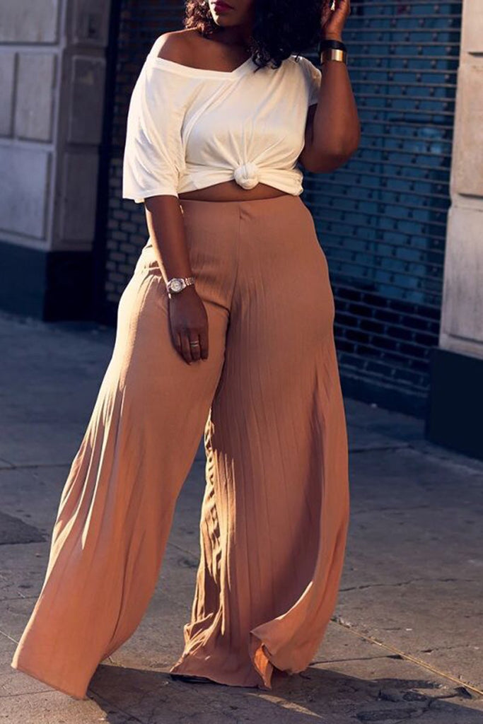 Draped Solid Color Flared Pants