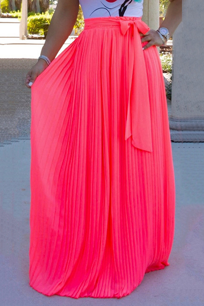 Chiffon Bowknot Solid Color Maxi Skirt