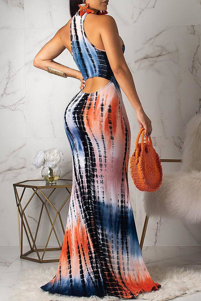 Tie Dye Hollow Out Gradient Print Sleeveless Maxi Dress