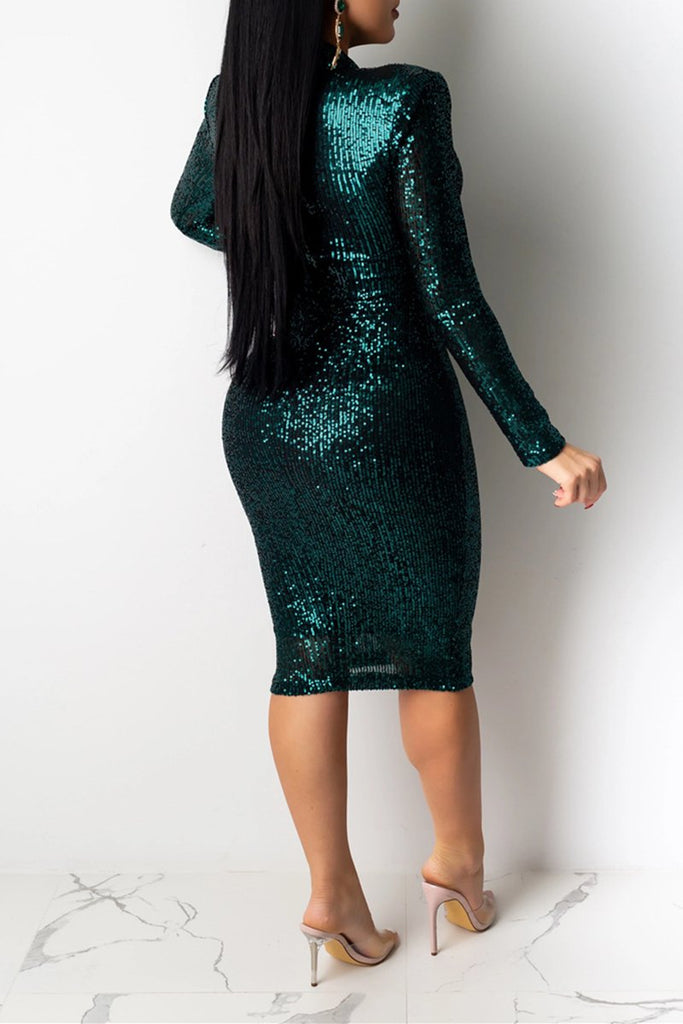 Solid Color Sequins Long Sleeve Club Dress