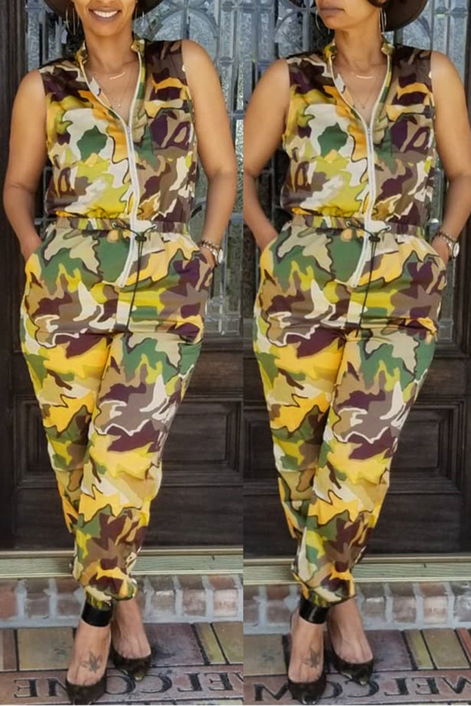 Camouflage Drawstring Waist Pocket Jumpsuit
