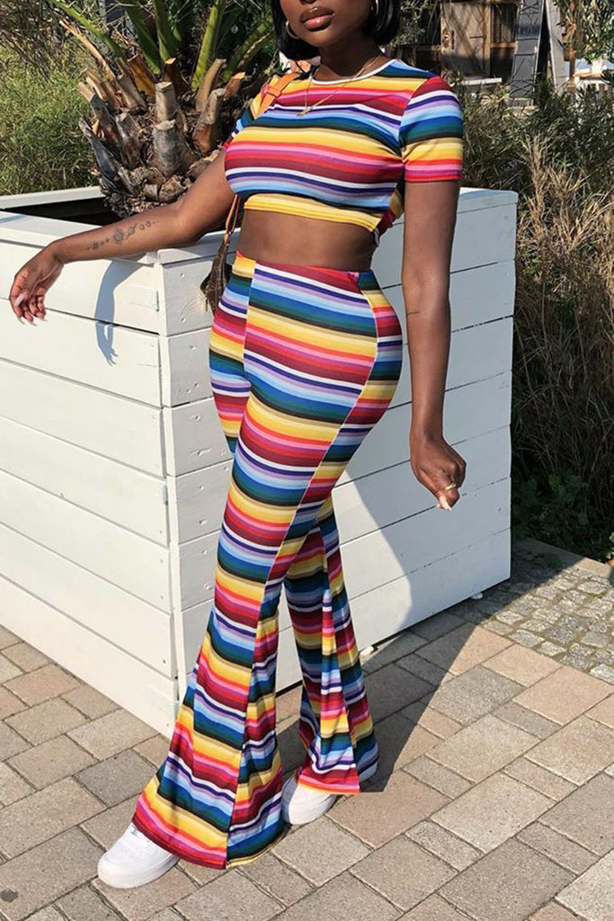 Rainbow Striped Short Sleeve Top & Flared Pants