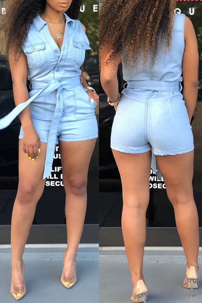 Sleeveless Denim Pocket Romper With Belt