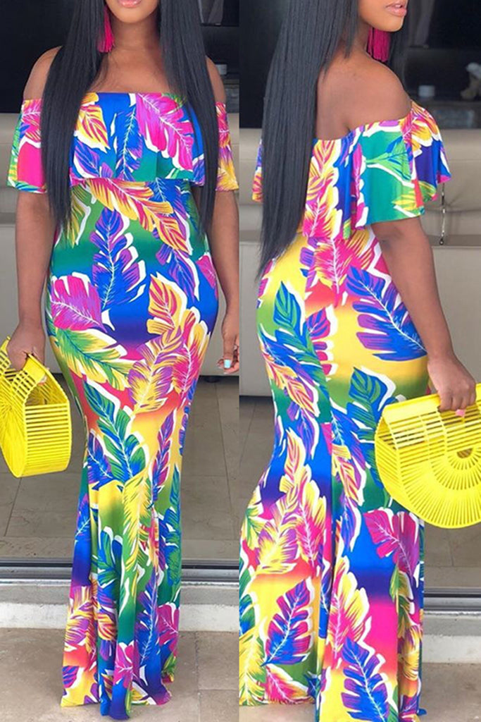 Digital Print Off The Shoulder Colorful Dress