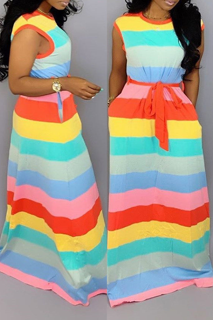 Pocket Rainbow Striped Dress With Belt