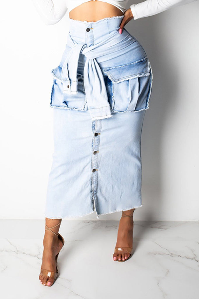 Denim Faux Two Pieces Midi Skirt