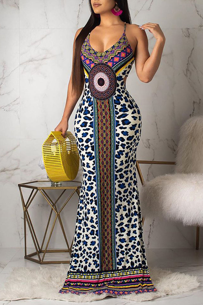 Side Slit Nation Print Pierced Maxi Dress