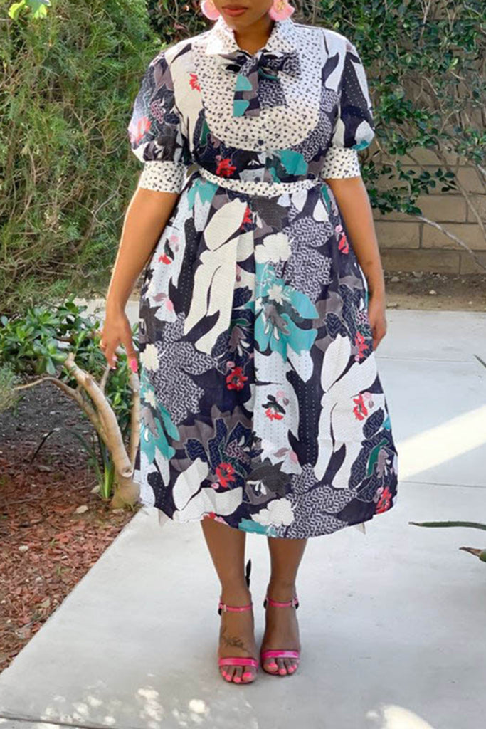 Bowknot Floral Print Puff Sleeve Dress