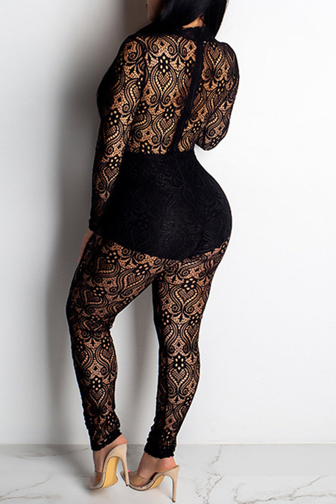 See-through Hollow Out Long Sleeve Lace Jumpsuit