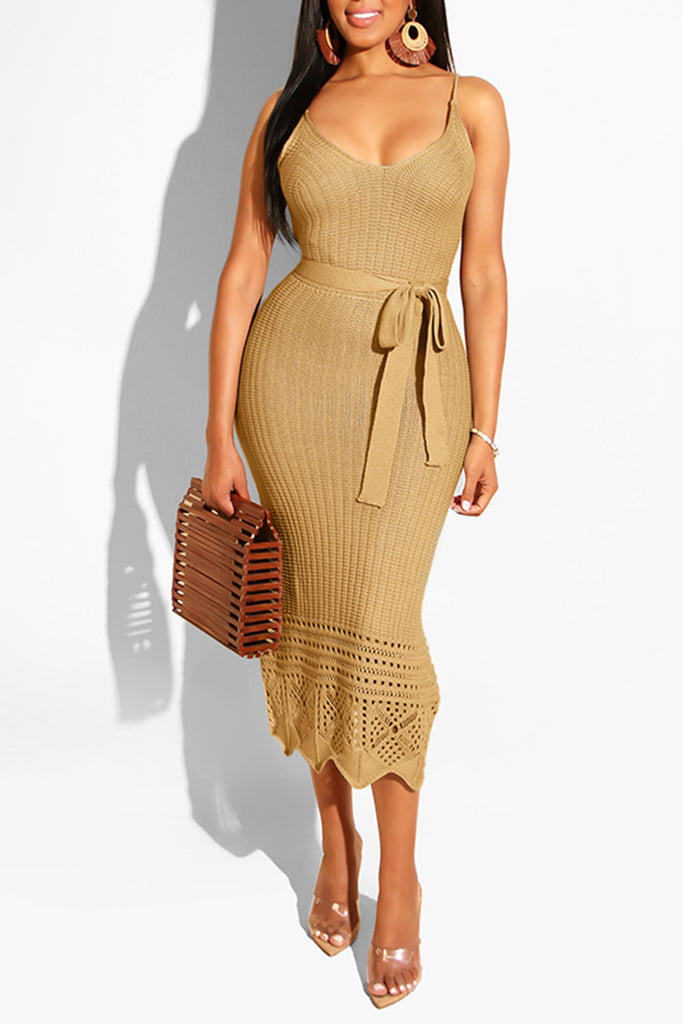 Knitted Sleeveless Pierced Dress With Belt